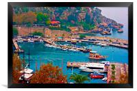 Digital painting of Kaleici, Antalya's old town ha, Framed Print