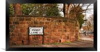 Penny Lane street sign Made famous by the Beatles , Framed Print