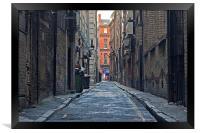 Looking down an empty inner city alleyway, Framed Print