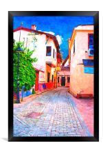 cobbled back streets of Kaleici in Antalya Turkey, Framed Print