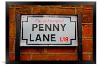 Penny Lane street sign in Liverpool UK, Framed Print