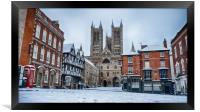 Lincoln Cathedral and a snowy Bailgate, Framed Print