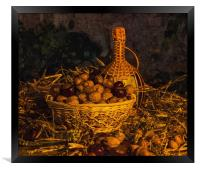 Still-life with nuts and wine, Framed Print