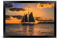 Sunset Sail and Plane, Framed Print