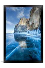 Blue Ice of the Lake Baikal, Framed Print