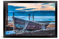 Old fishing boat with net, Framed Print