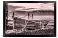 Old rusty boat with net (sepia), Framed Print