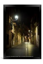 Walking at Night Street, Framed Print