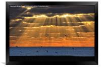 Worthing Beach Sun Rays, Framed Print