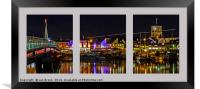 Shoreham Harbour at Night Triptych, Framed Print