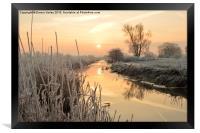 Henfield, West Sussex,  Frosty sunrise over river, Framed Print