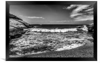 Beautiful bay in lack and white, Framed Print