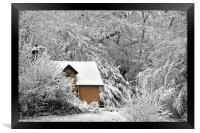 A cottage in the snow, Framed Print