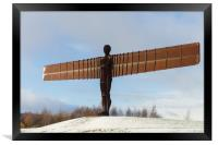 Angel of the North in the snow , Framed Print
