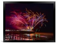 Worthing Pier Fireworks , Framed Print