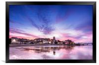 Pink sunset reflections over Cromer town at dusk, Framed Print