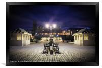 Cromer pier at night looking towards town, Framed Print