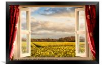 Window open with a view onto farm crops, Framed Print
