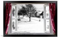 Beautiful winter scene through an open window, Framed Print