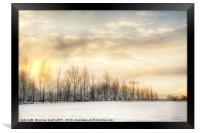 Fire sky over snow fields, Framed Print