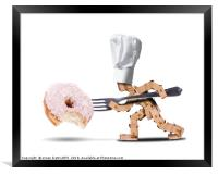 Chef box character attacking a large donut, Framed Print