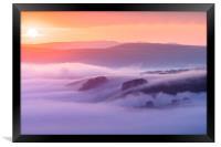 Peveril Castle sunrise, Framed Print