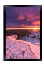 Sunrise over a winter wonderland, Derbyshire, UK , Framed Print