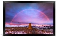 Winter rainbow over Mam Tor summit, Derbyshire, Framed Print
