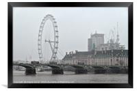 View of London during a snowy day, Framed Print