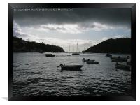 Dartmouth Harbour with Dramatic Cloud - Oil Effect, Framed Print