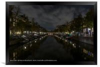 Amsterdam central canal at night , Framed Print