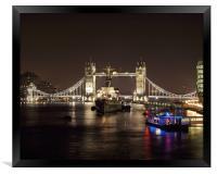 Tower Bridge London at Night, Framed Print