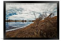 Cloud Reflections On The River Water, Framed Print