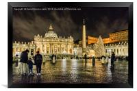 Saint Peters Basilica Night Scene, Rome, Italy, Framed Print