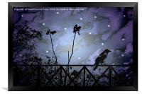 Fantasy Dark Night Scene Illustration, Framed Print
