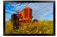 Bright Red Tractor, Framed Print