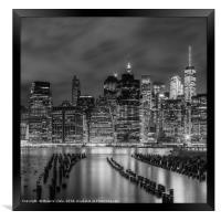 NEW YORK CITY Monochrome Night Impressions , Framed Print