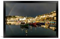 Rainbow at Mevagissey harbor, Framed Print