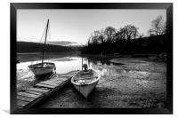 Saint Clement moorings at low tide in monochrome, Framed Print