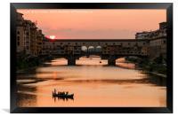 Ponte Vecchio Sunset, Florence, Framed Print