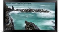The Waves in Manarola, Framed Print