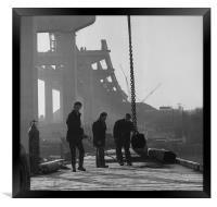 Men at work on the Medway Bridge, Framed Print