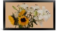 Sunflowers and lilies, Framed Print