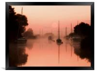 A misty river Frome, Framed Print