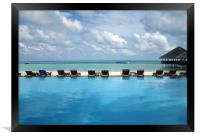 deck chairs infront of sea, Framed Print