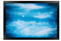 Moon Visible In Blue Sky With White Soft Clouds, Framed Print