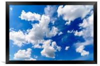 White Cumulus Clouds On Blue Sky, Framed Print