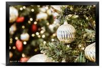 Colorful Christmas Tree Baubles Closeup, Framed Print