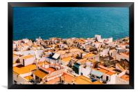 Aerial Panoramic View Of Peniscola City In Spain, Framed Print
