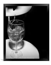 glass with ice cubes on white background, Framed Print